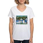 Sailboats / Eng Springer Women's V-Neck T-Shirt