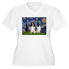 Starry / 2 Eng Springe Women's Plus Size V-Neck T-