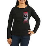 Nepal Stamp Women's Long Sleeve Dark T-Shirt