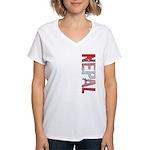 Nepal Stamp Women's V-Neck T-Shirt