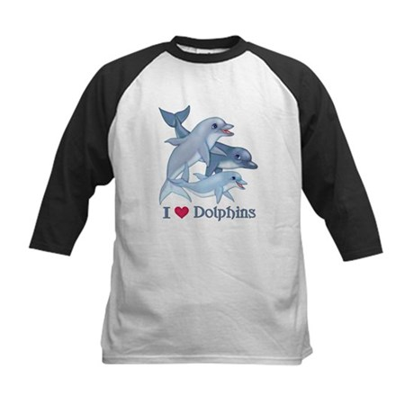 Dolphin Family and Text Kids Baseball Jersey