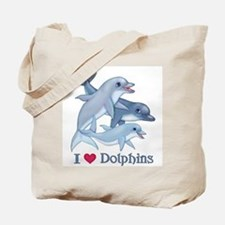 Dolphin Family and Text Tote Bag