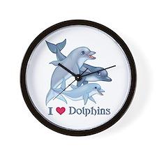Dolphin Family and Text Wall Clock