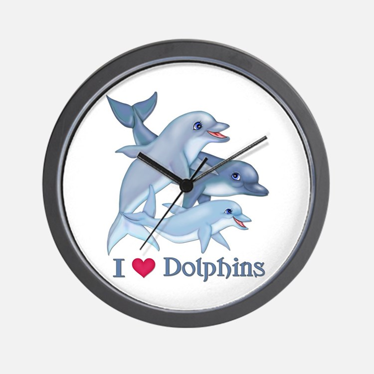 Dolphin Family and Text Wall Clock
