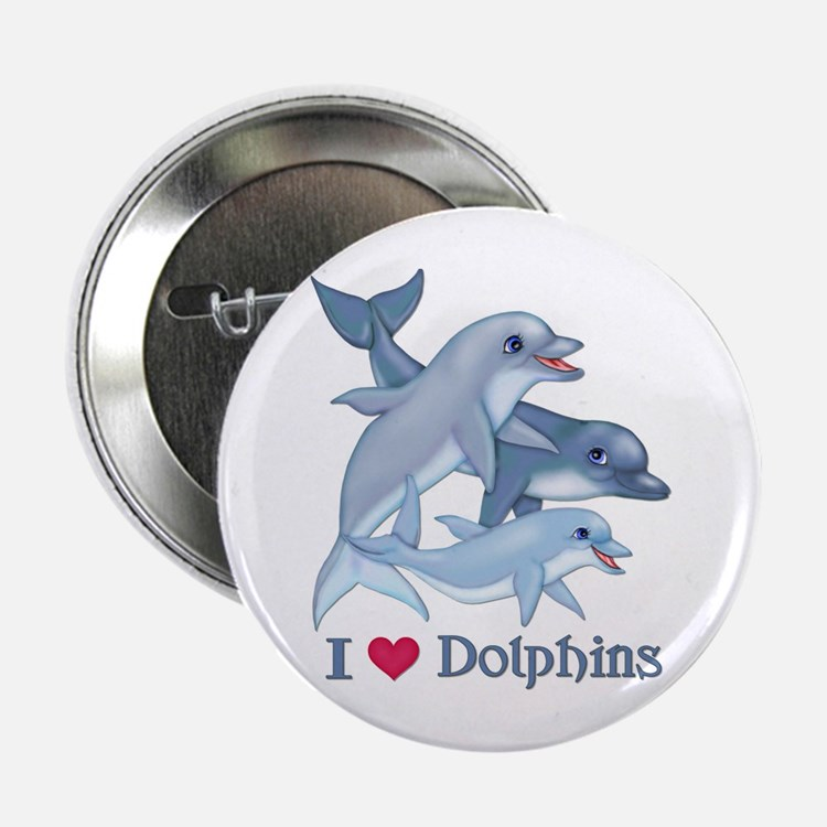 """Dolphin Family and Text 2.25"""" Button"""