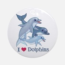 Dolphin Family and Text Ornament (Round)