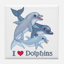 Dolphin Family and Text Tile Coaster