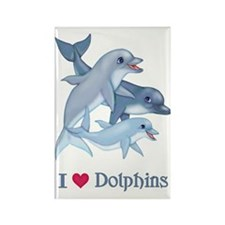 Dolphin Family and Text Rectangle Magnet