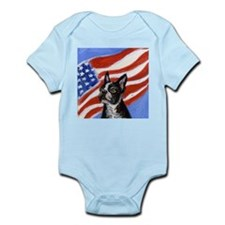 BOSTON TERRIER American Flag  Infant Creeper