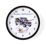 EMS Happy Holidays Greetings Wall Clock