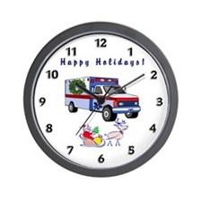 EMS Happy Holidays Greetings Wall Clock
