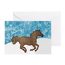 Running Horse Snow Greeting Card