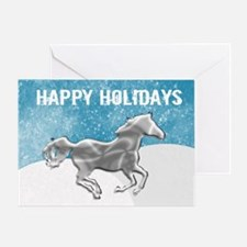 Silver Horse Snow Greeting Card