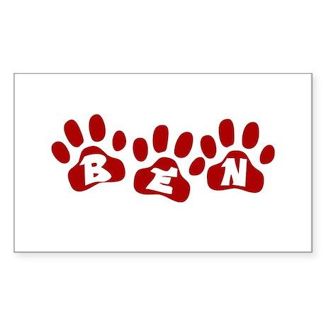 Ben Paw Prints Rectangle Sticker
