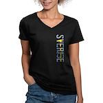 Sverige Stamp Women's V-Neck Dark T-Shirt
