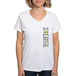 Sverige Stamp Women's V-Neck T-Shirt