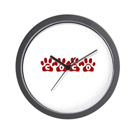 Coco Paw Prints Wall Clock