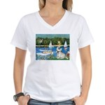 Sailboats / Fr Bulldog(f) Women's V-Neck T-Shirt