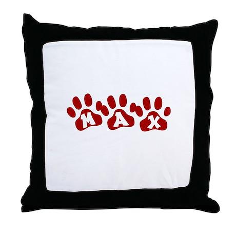 Max Paw Prints Throw Pillow