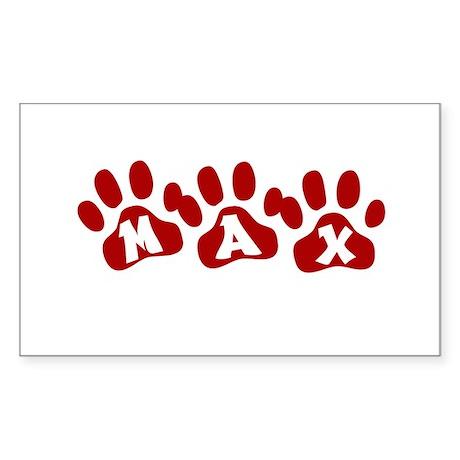 Max Paw Prints Rectangle Sticker