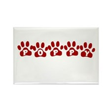 Poppy Paw Prints Rectangle Magnet