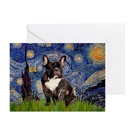 Starry / Fr Bulldog(brin) Greeting Cards (Pk of 10