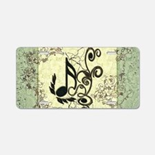 Music, key notes with grunge and floral elements A