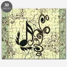 Music, key notes with grunge and floral elements P