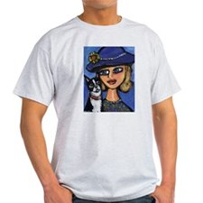BOSTON w fancy lady Design Ash Grey T-Shirt
