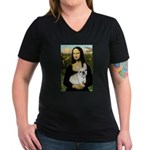 Mona / Fr Bulldog (f) Women's V-Neck Dark T-Shirt