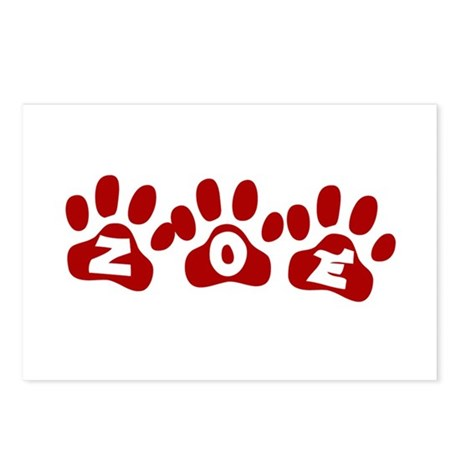 Zoe Paw Prints Postcards (Package of 8)