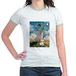 Umbrella /Fr Bulldog (f) Jr. Ringer T-Shirt