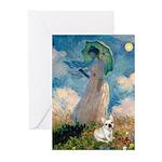 Umbrella /Fr Bulldog (f) Greeting Cards (Pk of 20)