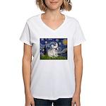 Starry / Fr Bulldog (f) Women's V-Neck T-Shirt