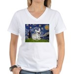 Starry / Fr Bulldog (f) Women's V-Neck T-Shirt