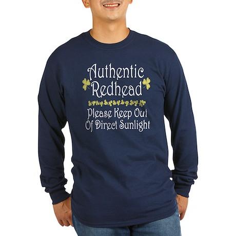 Authentic Redhead... Long Sleeve Dark T-Shirt