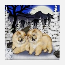 CREAM CHOW CHOW DOGS WINTER Tile Coaster