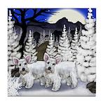 WHITE SCHNAUZER DOGS WINTER MOON Tile Coaster
