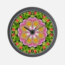 Wild Rose Mandala Wall Clock