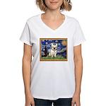 Starry/French Bulldog Women's V-Neck T-Shirt