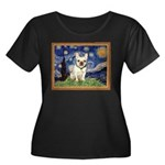 Starry/French Bulldog Women's Plus Size Scoop Neck