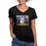 Starry/French Bulldog Women's V-Neck Dark T-Shirt