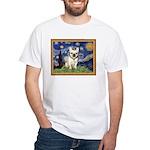 Starry/French Bulldog White T-Shirt