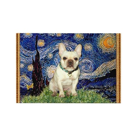 Starry/French Bulldog Rectangle Magnet
