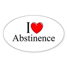"""""""I Love (Heart) Abstinence"""" Oval Decal"""