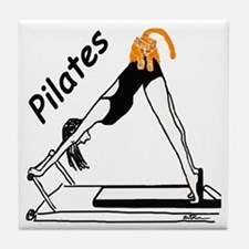 Pilates Cat Tile Coaster
