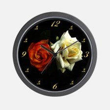 Dewdrops On Red & White Roses Wall Clock