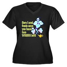 Two Wishes Women's Plus Size V-Neck Dark T-Shirt