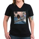 Katy Sick Women's V-Neck Dark T-Shirt