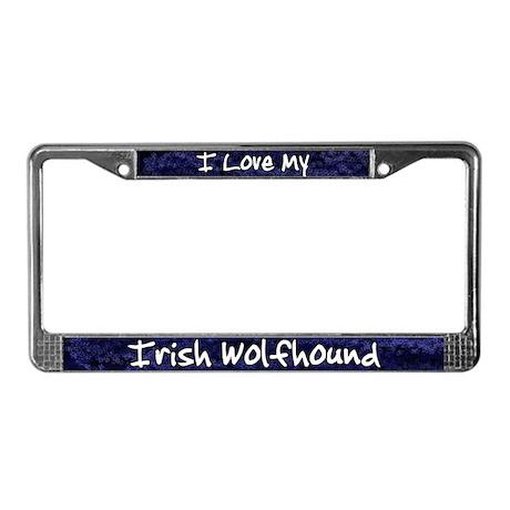 Funky Love Irish Wolfhound License Plate Frame